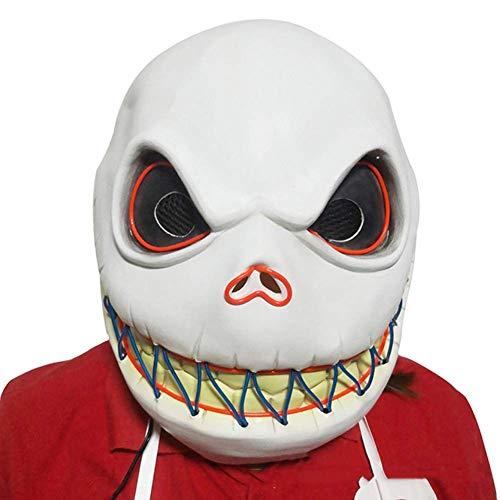 XBYUK Halloween Skelett Maske Cosplay LED Glow Scary EL Draht Leuchten Grinsen Masken für Festival Parties Kostüm Bar Dance Einheitsgrösse