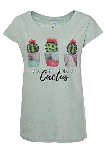 Stitch & Soul Damen T-Shirt mit Aquarell-Kaktus-Print | Basic Tshirt | Statement Shirt mit Weitem Rundhals-Ausschnitt Middle-Green XS