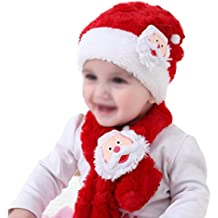 Doitsa Sombrero de niño sombrero de felpa de Navidad Linda Bufanda Papá Noel Regalo de cumpleaños Otoño Invierno Niños y niñas 2 piezas Rojo