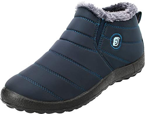 JOINFREE Damen Warme Schneestiefel Warme Flache Ferse Schuhe Oxford Tuch  Vamp Marine, 43 EU df4ec78e1e