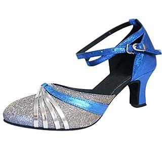 DAYSEVENTH Kitten Heel Shoes, Mid-High Heels Glitter Dance Shoes Women Ballroom Latin Tango Rumba Dance Shoes(Blue, 4 UK)