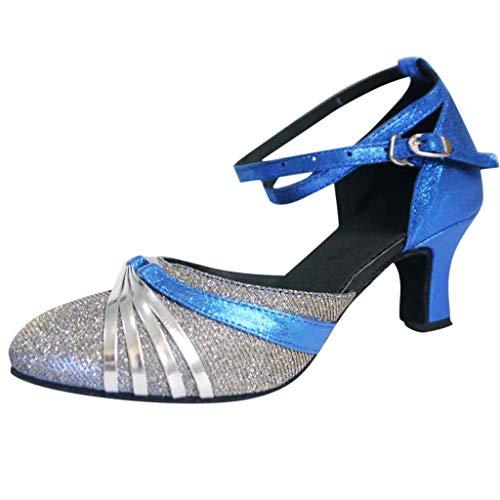 Pumps Damen,High Heels Sandalen Party Stiletto Mid-High Heels Glitter Braut Hochzeit Satin Sandalen Ballsaal Tanzschuhe(Blau,40 EU)