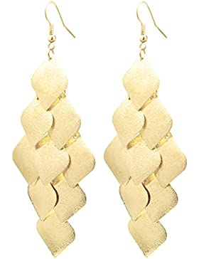 2LIVEfor Statement Ohrringe lang hängend Blätter orientalisch Tropfen sehr lang Blatt Quadratisch Ohrringe Bohemian...