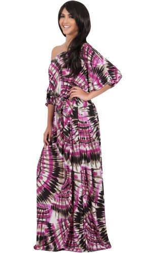 KOH KOH® Damen Sommer Maxikleid Schickes Abstrakt Grafik Schulterfrei, Farbe Pink, Größe M / Medium (Abstrakte Kostüme Halloween)