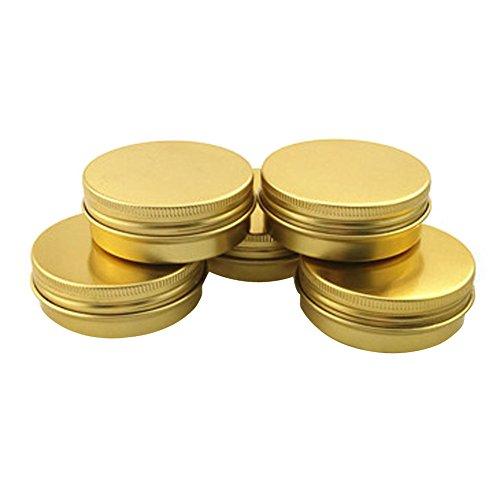 6 pcs 40 ml 39,7 gram rond en aluminium Doré Nail Art Baume à lèvres Maquillage Pot Peut Bouteille avec couvercle à visser DIY Crème Cosmétique Container Pot Tin portables produits de beauté