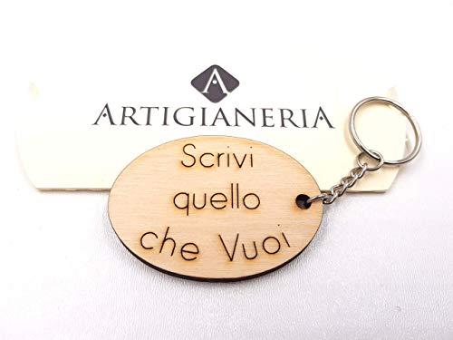 ArtigianeriA - Portachiavi in legno, personalizzato con testo a scelta. Incisione realizzata a laser...
