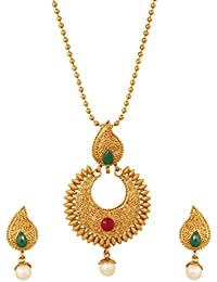 Touchstone Indian Faux Ruby Emerald Pearls Paisley Temple Alloy Metal Jewelry Pendant In Antique Gold Tone For...