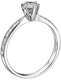 GIA Certified, Round Cut, Solitaire Diamond Ring in 14K Gold / White (1/2 ct, J Color, VS2 Clarity)