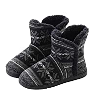 AONEGOLD Slippers Faux Fur Lined Knit Anti-Slip Indoor Slippers Boot House Slipper Bootie(Black,Size 6-6.5)