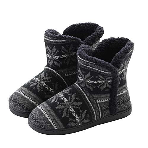 AONEGOLD Hausschuhe Hüttenschuh Hohe Gefüttert Hüttenstiefel Rutschfest Winter Pantoffeln für Unisex-Erwachsene(Schwarz,39-40 EU)