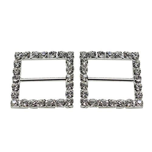 Quadrat mit Strass Kristall Diamant Schnalle Slider Verzierungen für Bänder Party Einladungen Hochzeit Karten oder Briefe Fashion Zubehör-26mm x 26mm (ca.)-144, farblos, Set of 25 Slider Card