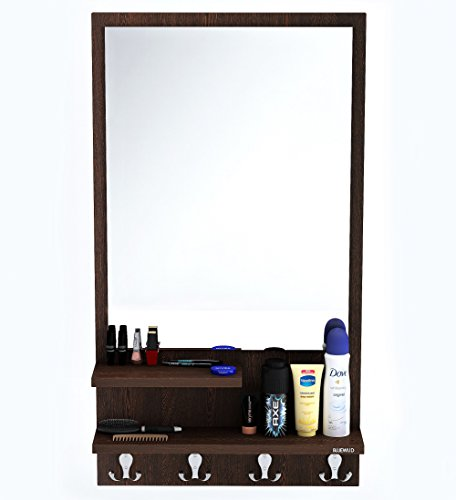 Bluewud Rico Dressing Table with Shelves, Mirror and Hanging Hooks (Wenge)