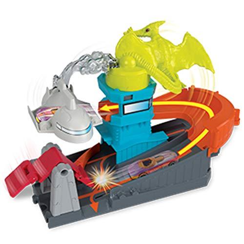 Mattel- Hot Wheels-City Dino-Ataque al Aeropuerto, Pistas de Coches de Juguetes niños +4 años GBF94