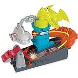 Mattel Hot Wheels-City Dino-Ataque al Aeropuerto, Pistas de Coches de Juguetes