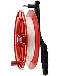 Cometa Carrete Rueda Agarre Manija Bobinadora Cadena de Trenzado Rojo - 17cm 40m