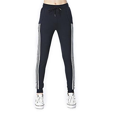 VWU Damen Mädchen Sport Gestreift Streifen Lang Lose Jersey Freizeithose Sweatpants Jogginghose Bündchen Mit Tasche Baumwolle 5 Farbe (M, Schwarz Weiß Streifen)
