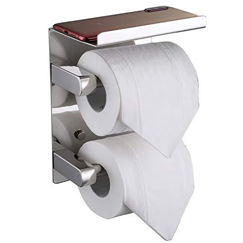 FANHAO Doppelrolle Toilettenpapierhalter mit Ablage, klopapierrollenhalter SUS 304 Edelstahl Badezimmerzubehör Papierrollenspender, klopapierhalter Aufbewahrungsregal Mehrzweckregal Wandmontage