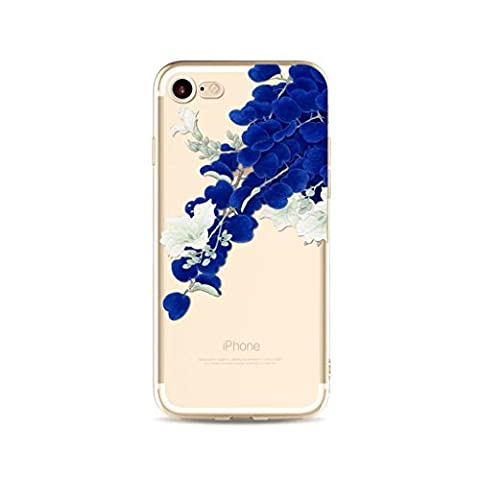 MUTOUREN iPhone SE/5/5S case cover Ultra Slim Fitted TPU Rubber Gel Case flexible soft crystal clear, anti-shock anti-scratch durable-white flowers with blue leave