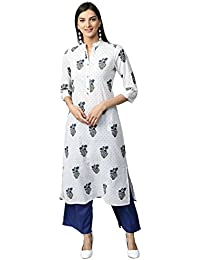 Jaipur Kurti Women White & Blue Printed Cotton Kurta With Palazzos