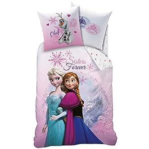 Wende Bettwäsche-Set Disney`s Eiskönigin 135x200cm + 80x80cm 100% Baumwolle 2 Pink Mountain Elsa Anna und Olaf Frozen
