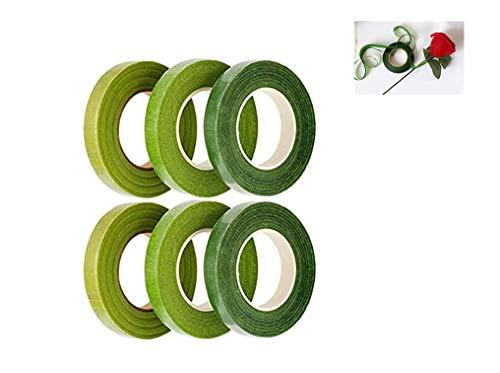Rmeet Cinta Floral,Verde Cinta Tallo 6 Pack Floristería