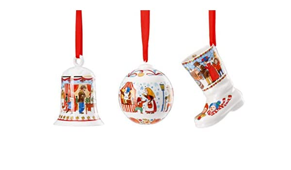 Motivo Mercato di Natale Campana in Porcellana OVP in Confezione Originale Sfera Set Combinato Stivali 2019