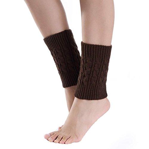 TWIFER Damen kurze Strick Socken Beinlinge Boot Cover für Mädchen Kinder (Kaffee, 20cm)