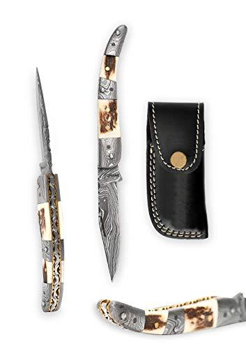 Perkin Knives Couteau pliable -Stag Antler- juridiques à transporter-œuvre d'Art &Bushcraft pour camping