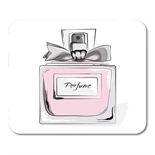 Luancrop Mauspads Haute Couture-Aquarell-Parfüm-Rosa-Flasche im Frauen-Zauber-Schönheits-Aroma-flüssigen kosmetischen Duft Mousepad für Laptop, Tischrechner-Bürozubehöre Mauspads (Rosa Flasche Personalisierte)