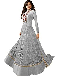 Women's Net Grey Embroidered Long Semi-Stitched Party Wear Salwar With Dupatta(M12035)