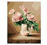 Europa Blumenvase DIY Malen Nach Zahlen Acrylbild Handgemalte Malen Nach Zahlen Wohnkultur Für Wohnzimmer 40x50 cm