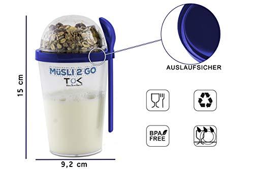 TOK Müslibecher 2 go/Joghurt to go Becher mit Löffel/komplett dicht, BPA frei, wiederverwendbar / 450 ml Becher & 150 ml Deckel/Reise-Müsli-Becher für den gesunden Snack unterwegs/Blau