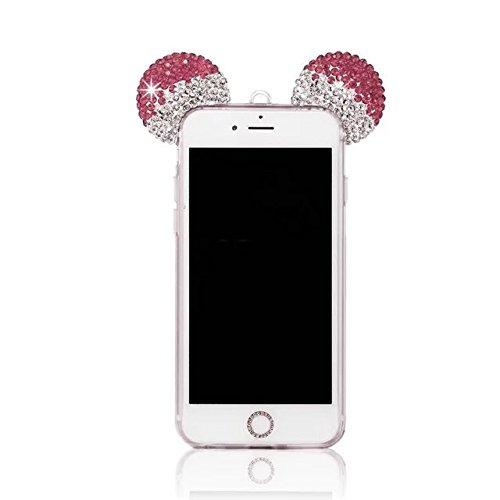 iPhone 6S Plus Hülle, MOMDAD Glitzer Cartoon TPU Handyhülle für iPhone 6S Plus / 6 Plus Schutzhülle Dünnen Glänzend Crystal Kristall Silikon Bling Shining Maus Mouse Ohr Ear Zurück Case Cover Schutz K Kristall ROSE Rosa