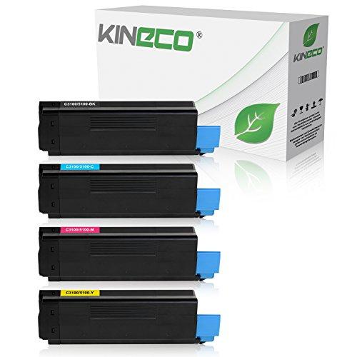 4 Toner kompatibel zu Oki C3100, C3200, C5100, C5200, C5250, C5300, C5400, C5450, C5510 - Schwarz 6.000 Seiten, Color je 6.000 Seiten