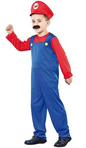 Kleiner Klempner Mario - Kinderkostüm Größe 7 bis 9 Jahre (Klempner Kostüm Für Kinder)