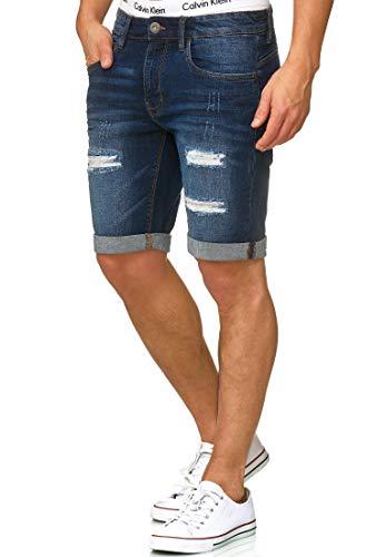 Indicode Herren Caden Jeans Shorts Kurze Denim Hose mit Destroyed-Optik aus Stretch-Material Regular Fit Dark Blue L