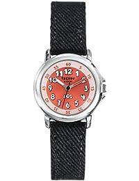 Trendy Kiddy - KL302 - Montre Mixte - Quartz Analogique - Cadran Orange - Bracelet Tissu Noir