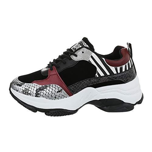 Ital-Design Damenschuhe Freizeitschuhe Sneakers Low Synthetik Schwarz Silber Gr. 38