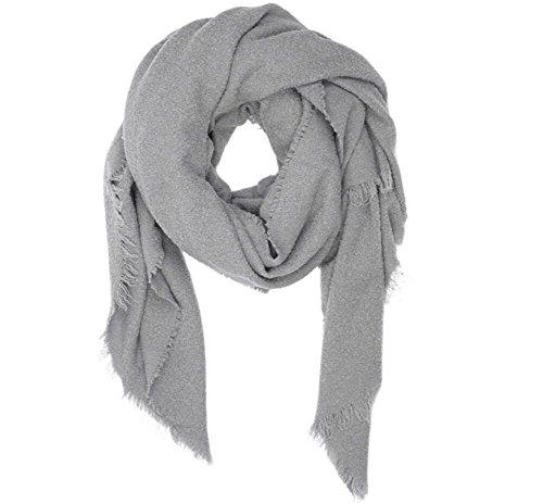 GJX@ Écharpe de laine pelucheuse épais double usage féminin chaud en automne et en hiver en châle grande Europe et d'Amérique gray