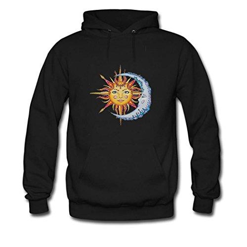 weileDIY Moon and Sun DIY Custom Women's Classic Hoodie Sweatshirt Black