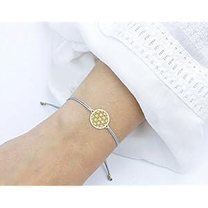SCHOSCHON Damen Blume des Lebens Armband, Gold-Hellgrau, 925 Silber vergoldet, Muttertag Lebensblume Schmuck Geschenkidee