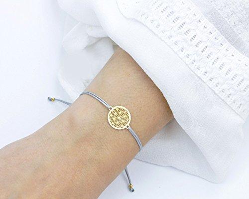 SCHOSCHON Damen Blume des Lebens Armband, Gold-Hellgrau, 925 Silber vergoldet, Lebensblume Schmuck Geschenkidee