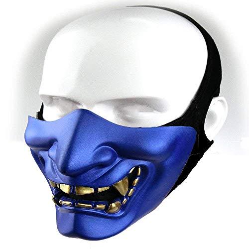Kostüm Samurai Halloween - Samurai Airsoft Maske Tactical Prajna Half Face Hannya Oni Motorrad Evil Demon Knight Kabuki Maske für Halloween Cosplay Kostüm Jagd Schießen