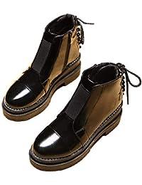 127827269fc47 KPHY Zapatos de Mujer Retro Suela Gruesa Altura del Tacon De 6 Cm De Tacon  Botas Terciopelo Grueso Baitie Muffin Invierno Zapatos Algodon…