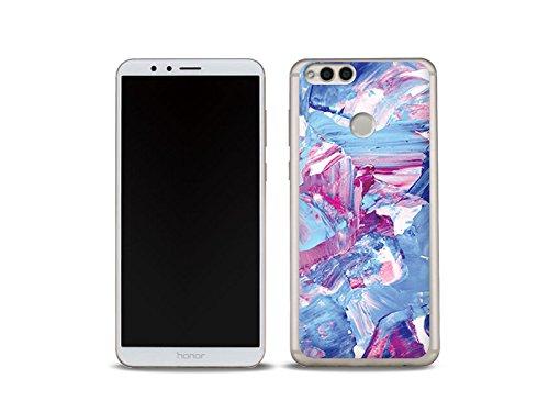 etuo Huawei Honor 7X Handyhülle Schutzhülle Etui Hülle Case Cover Tasche für Handy Foto Case - Pastell Abstraktion