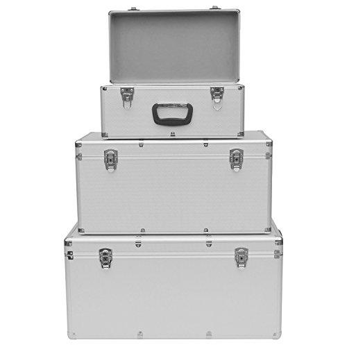 Froadp 3er set Alukoffer Alubox werkzeugkoffer Große - werkzeugkasten transportkiste silber (Große)