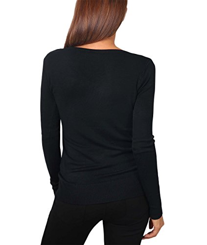 KRISP® Damen Basic Geknöpfter V-Ausschnitt Pullover Schwarz (5445)