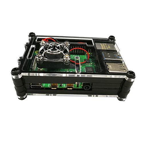 Price comparison product image Yaoaomon For Raspberry Pi 4 Model B 9 Acrylic Case Black Professional Box Black