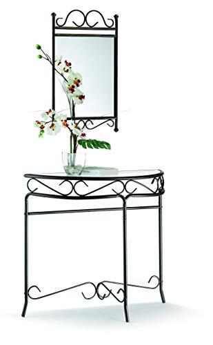 Alsapan Reva Console Demi-Lune Table d'Entrée Style Fer Forgé Noir Patiné Doré avec Plateau en Verre Trempé 95 x 37 x 80 cm