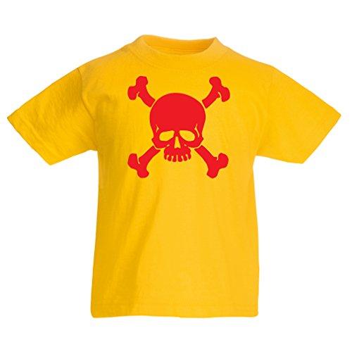 lepni.me Kinder T-Shirt Totenkopf, Warnzeichen - Nicht Berühren (3-4 Years Gelb - Australien Halloween-meme